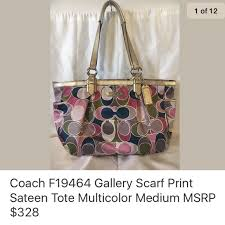 Coach F19464 Gallery Scarf Print Sateen Tote