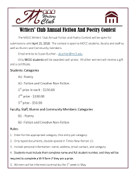 Writers Club Annual Fiction And Poetry Contest Campus Life