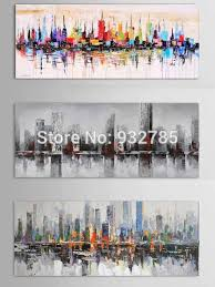 new york city picture canvas 100 handmade american style modern abstract knife oil painting home