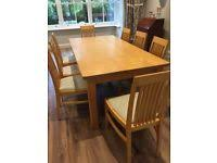 large handmade maple wood kitchen dining table with 8 chairs in excellent condition