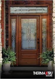 therma tru classic craft oak collection fiberglass door with provincial decorative glass
