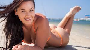 Sexy tan ass micro bikini