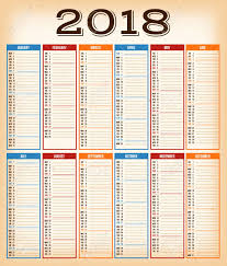 Calendar Quarters Illustration Of A Vintage Design Calendar For Year 2018 With
