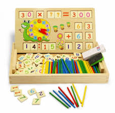 Wooden Math Games BBLIKE 100 Pieces Wooden Toy Drawing Board Games Creative Puzzle 95