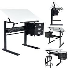 drawing table computer desk drafting art craft hobby folding adjule stool combo