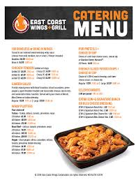 here to check out our catering menu and call your local east coast wings grill and let us cater to you pricing may vary by location