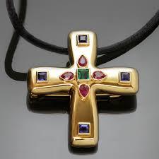 cartier byzantine multicolor gemstone 18k yellow gold cross pendant brooch necklace