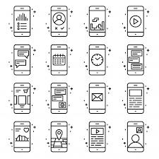 スマートフォンの機能とアプリのベクトルアイコンがアウトラインスタイル