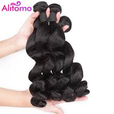 Alitomo Peruvian Loose Wave Hair Bundles Non Remy Human Hair Weave Extensions Natual Color 8 26 Inch Hair Extensions