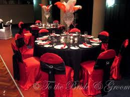 Combo 2: Red chair covers with black sashes, black table cloths.