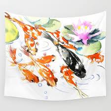 nine koi fish 9 koi feng s artwork asian watercolor ink painting wall tapestry