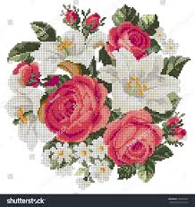 Bouquet Roses Lilia Cross Stitch Style Stock Vector (Royalty Free) 734950627