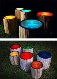 Pin by iva griffith on yard | Log stools, Backyard, Outdoor