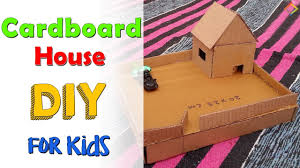 DIY cardboard house-Craft Ideas for Kids-DIY cardboard house from cardboard  boxes-Best out of waste