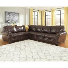 3 piece leather sectional. Brilliant Leather Signature Design By Ashley Banner 3Piece Leather Match Sectional With  Rolled Arms Nailhead On 3 Piece