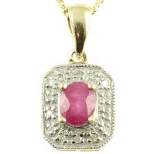 9ct gold ruby diamond pendant