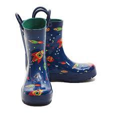 Pluie Pluie Blue Outerspace Rocket Toddler Little Boys Rain Boots 5 2
