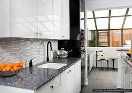 modern white kitchen. Gray Granite Countertop Modern White Cabinet Kitchen Glass Backsplash Tile Modern White Kitchen