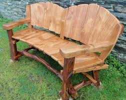rustic outdoor bench double