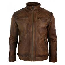 men s retro style zipped biker jacket real leather soft brown waxed sheepskin casual leather jacket