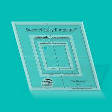 Creative Grids USA ® & Sweet N Sassy Rhombus Templates 3pc set with holes Quilt Ruler Adamdwight.com
