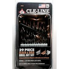 29 drill bit. cle-line black and gold high speed drill bit set (29-piece) 29