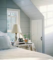 Paint For Bedrooms With Slanted Ceilings Unique Slanted Ceiling With White Bed And Pastel Grey Paint Color