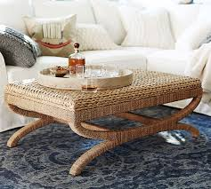 seagrass round coffee table for creative of seagrass coffee table ottoman pottery barn