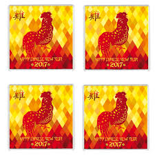 Small Picture FOUR Chinese New Year 2017 Year of the Rooster Drinks Coaster