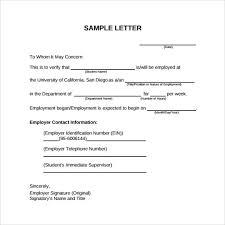 Template Employment Verification Letter Employment Verification