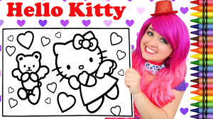 We have collected 38+ hello kitty valentines day coloring page images of various designs for you to color. Coloring Hello Kitty Valentine S Day Giant Coloring Book Page Crayola Crayons Kimmi The Clown Youtube