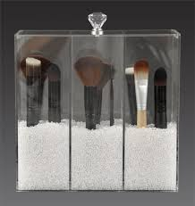 clear acrylic makeup brush holder 3 partment with crystal lid a3 gl
