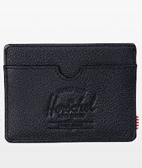 herschel supply co charlie black pebbled leather cardholder wallet zumiez