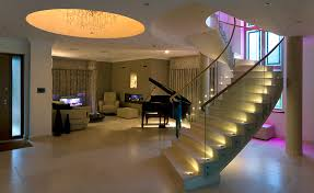 stair tread lighting. stairs with led accent lights and colour change uprights stair tread lighting
