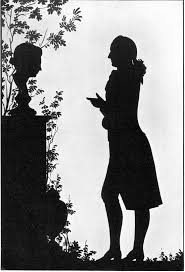 Silhouette - Wikipedia, the free encyclopedia - Goethe facing a grave  monument, cut paper, 1780