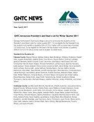 GNTC NEWS - Georgia Northwestern Technical College