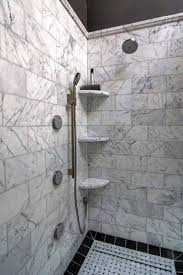 Bathroom , Practical Shower Corner Shelves : Walk Shower With Marble Shower  Corner Shelves