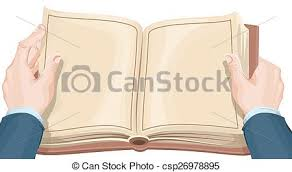 male hands holding open book csp26978895