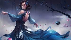 1920x1080 Elf Fantasy Girl In Blue ...
