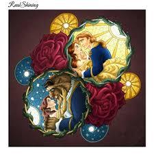 realshining diamond embroidery diy diamond painting cross stitch beauty beast full square 5d needlework mosaic home