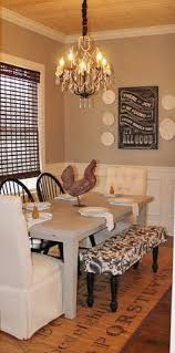 bench on open side mismatched chairs definitely with wash dry slipcovers sherwin williams perfect greige and pannelling idea for dining room at 2