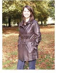 las 3 4 length las leather trench coat