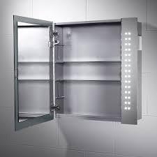 pebble grey rowan led illuminated bathroom mirror cabinet h 600mm x w 650mm x d 110mm infra red sensor switch dual vole shaver socket full size