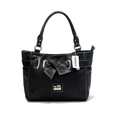 Coach Embossed Bowknot Signature Medium Black Totes DDP