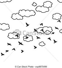 birds flying in the sky drawing. Vector Flock Of Flying Birds And Clouds In The Sky Drawing
