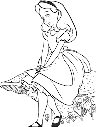 Small Picture Alice Sitting With Stone In Wonderland Coloring Page Disney