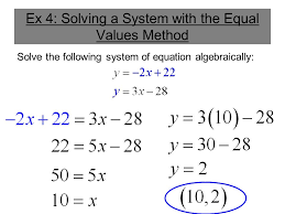 ex 4 solving a system with the equal values method