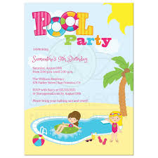 Girl pool party invitations
