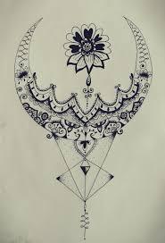 Moon Mandala Design Triangle Zentangle Floral Moon Mandala Tattoo Design