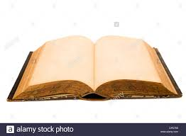 an old open book with blank pages